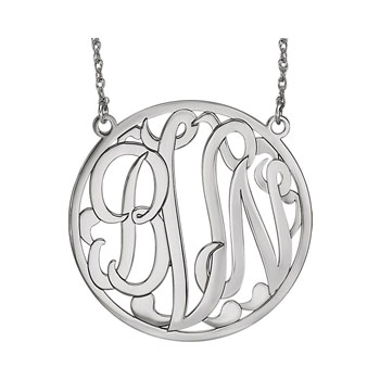 Large 40mm Round Script Monogram Pendant Necklace - 14K White Gold - Chain included - Special Order