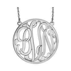 Large 40mm Round Script Monogram Pendant Necklace - 14K White Gold - Chain included - Special Order/
