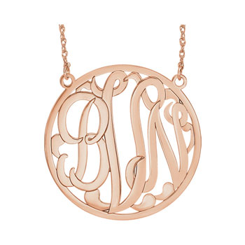 Large 40mm Round Script Monogram Pendant Necklace - 14K Rose Gold - Chain included - Special Order