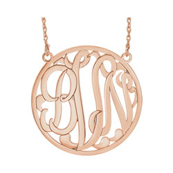 Large 40mm Round Script Monogram Pendant Necklace - 14K Rose Gold - Chain included - Special Order/
