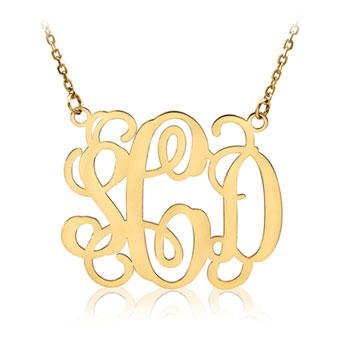 Beautiful 36mm Monogram Pendant Necklace - 14K Yellow Gold - 1.5mm Cable Chain included - Special Order - Best Seller