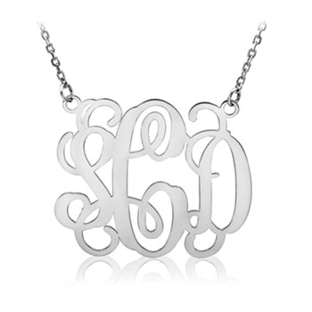 Beautiful 36mm Monogram Pendant Necklace - 14K White Gold - 1.5mm Cable Chain included - Special Order - Best Seller