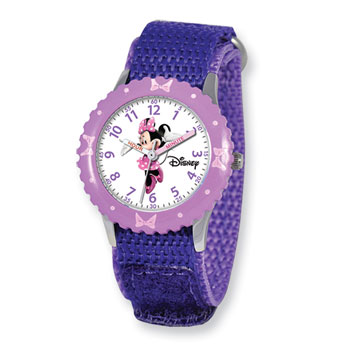 Girls Disney Minnie Mouse Time Teacher Watch - Adjustable purple Velcro watch band - Fits toddler to preteen girls