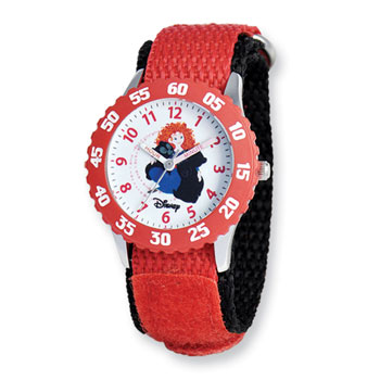 Girls Disney Princess Time Teacher Watch - Featuring Brave's Adventurous Princess Merida - Adjustable red Velcro watch band - Fits toddler to preteen girls