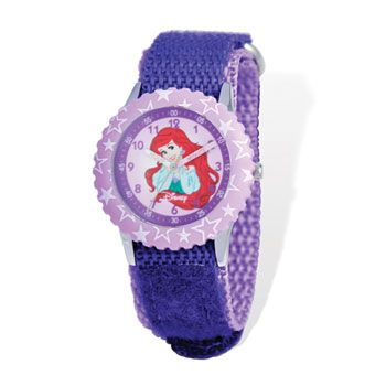 Girls Disney Princess Time Teacher Watch - Featuring The Little Mermaid's Independent-Minded Princess Ariel - Adjustable purple Velcro watch band - Fits toddler to preteen girls