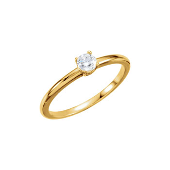Gorgeous Genuine Diamond Solitaire Ring for Girls - Ten-Point (0.1 Carat) Genuine Diamond (SI1, G-H) - 14K Yellow Gold Toddler / Grade School Girl Ring - Size 3 - Special Order - BEST SELLER