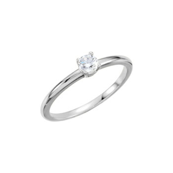 Gorgeous Genuine Diamond Solitaire Ring for Girls - Ten-Point (0.1 Carat) Genuine Diamond (SI1, G-H) - 14K White Gold Toddler / Grade School Girl Ring - Size 3 - Special Order - BEST SELLER