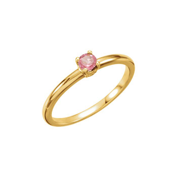 Adorable High-Quality October Birthstone Rings for Girls - 3mm Genuine Pink Tourmaline Gemstone - 14K Yellow Gold - Size 4 - Special Order - BEST SELLER