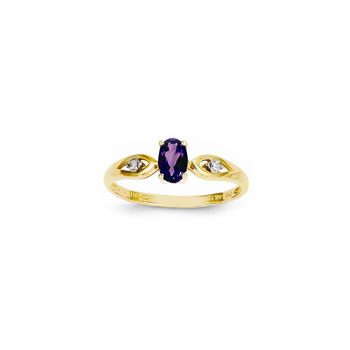 Girls Diamond Birthstone Ring - Genuine Amethyst Birthstone with Diamond Accents - 14K Yellow Gold - Size 5 - BEST SELLER