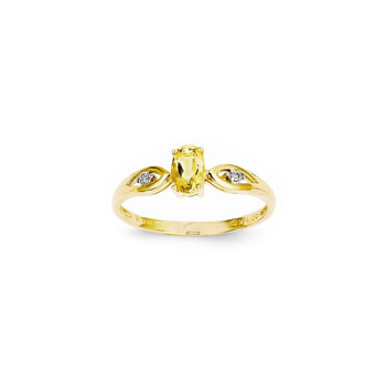 Girls Diamond Birthstone Ring - Genuine Citrine Birthstone with Diamond Accents - 14K Yellow Gold - Size 5 - Special Order - BEST SELLER