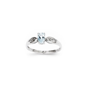 Girls Diamond Birthstone Ring - Genuine Aquamarine Birthstone with Diamond Accents - 14K White Gold - Size 5 - BEST SELLER