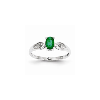 Girls Diamond Birthstone Ring - Genuine Emerald Birthstone with Diamond Accents - 14K White Gold - Size 5 - Special Order - BEST SELLER