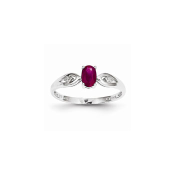 Girls Diamond Birthstone Ring - Genuine Ruby Birthstone with Diamond Accents - 14K White Gold - Size 5 - Special Order - BEST SELLER
