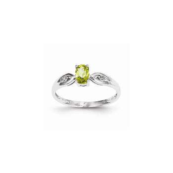 Girls Diamond Birthstone Ring - Genuine Peridot Birthstone with Diamond Accents - 14K White Gold - Size 5 - Special Order - BEST SELLER