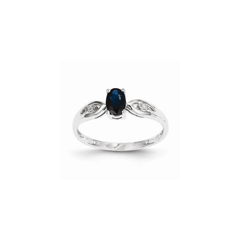 Girls Diamond Birthstone Ring - Genuine Sapphire Birthstone with Diamond Accents - 14K White Gold - Size 5 - Special Order - BEST SELLER