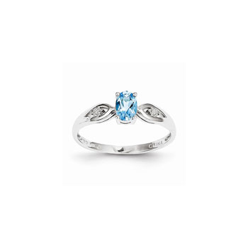 Girls Diamond Birthstone Ring - Genuine Blue Topaz Birthstone with Diamond Accents - 14K White Gold - Size 5 - Special Order - BEST SELLER