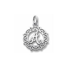 Rembrandt Sterling Silver Whimsical Round Initial A Charm – Add to a bracelet or necklace - BEST SELLER/