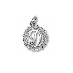Rembrandt Sterling Silver Whimsical Round Initial D Charm – Add to a bracelet or necklace/