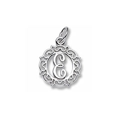 Rembrandt Sterling Silver Whimsical Round Initial E Charm – Add to a bracelet or necklace/