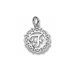 Rembrandt Sterling Silver Whimsical Round Initial F Charm – Add to a bracelet or necklace/
