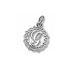 Rembrandt Sterling Silver Whimsical Round Initial G Charm – Add to a bracelet or necklace/
