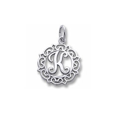 Rembrandt Sterling Silver Whimsical Round Initial K Charm – Add to a bracelet or necklace/