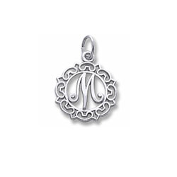 Rembrandt Sterling Silver Whimsical Round Initial M Charm – Add to a bracelet or necklace/