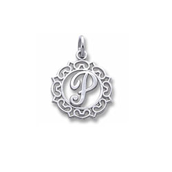 Rembrandt Sterling Silver Whimsical Round Initial P Charm – Add to a bracelet or necklace/