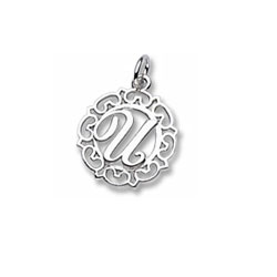 Rembrandt Sterling Silver Whimsical Round Initial U Charm – Add to a bracelet or necklace/