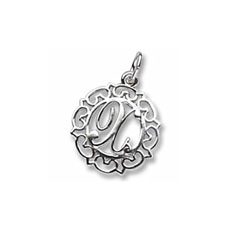 Rembrandt Sterling Silver Whimsical Round Initial X Charm – Add to a bracelet or necklace/