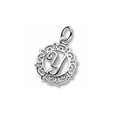 Rembrandt Sterling Silver Whimsical Round Initial Y Charm – Add to a bracelet or necklace/