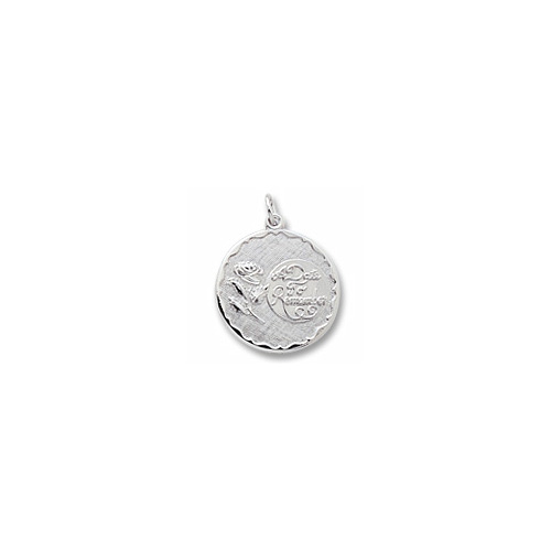 A Date to Remember - Large Round Sterling Silver Rembrandt Charm – Engravable on back - Add to a bracelet or necklace