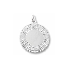 Rembrandt Sterling Silver A Day To Remember Charm – Engravable on front and back - Add to a bracelet or necklace/