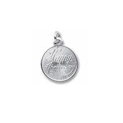 Happy Anniversary - Small Round Sterling Silver Rembrandt Charm – Engravable on back - Add to a bracelet or necklace /