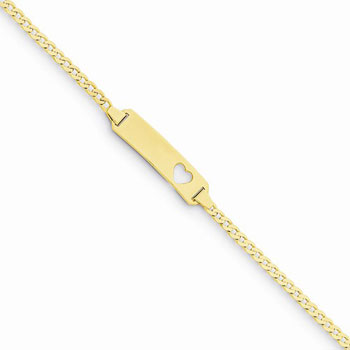 "Adorable Kids Heart Engravable ID Bracelet - Solid 14K Yellow Gold - Curb Link - Personalized Girls Child ID Bracelet - Size 6"" (SM Child - 13 years)"