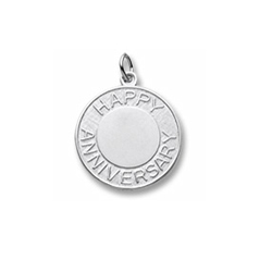 Rembrandt Sterling Silver Anniversary Charm – Engravable on front and back - Add to a bracelet or necklace/