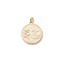 A Date to Remember - Large Round 14K Yellow Gold Rembrandt Charm – Engravable on back - Add to a bracelet or necklace /
