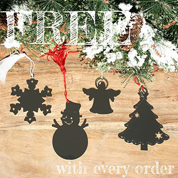 Engravable Silver Christmas Ornament - FREE with your order of $200 or more - Choice of Christmas Tree, Snowflake, Snowman, or Angel - A $35 Value