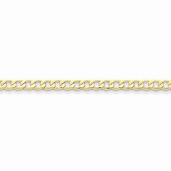 10K Yellow Gold 4.3mm Light Weight Curb Link Necklace Chain for Boys - 18