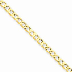 14K Yellow Gold 3.35mm Light Weight Curb Link Necklace Chain - 16