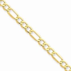 14K Yellow Gold 4.75mm Light Weight Figaro Necklace Chain - 16