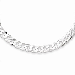 Silver 4.5mm Beveled Curb Link Necklace Chain - 16