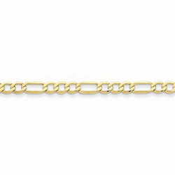 10K Yellow Gold 4.75mm Light Weight Figaro Necklace Chain - 18