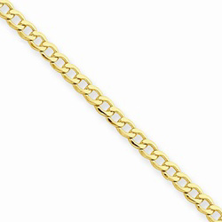 14K Yellow Gold 2.5mm Light Weight Curb Link Necklace Chain - 20