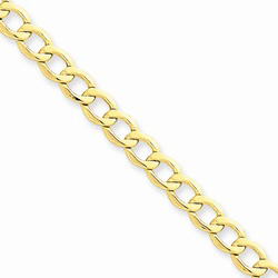 14K Yellow Gold 5.25mm Light Weight Curb Link Necklace Chain - 20