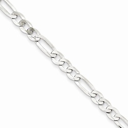 Silver 4.5mm Flat Figaro Necklace Chain - 20