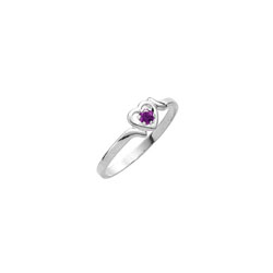 Sweetheart Birthstone Ring - February Birthstone - Genuine Amethyst - 14K White Gold - Size 4½ Child Ring - BEST SELLER/