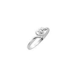 Sweetheart Birthstone Ring - April Birthstone - Genuine White Topaz - 14K White Gold - Size 4½ Child Ring/