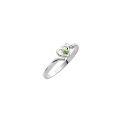 Sweetheart Birthstone Ring - August Birthstone - Genuine Peridot - 14K White Gold - Size 4½ Child Ring - BEST SELLER/