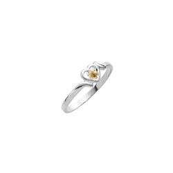 Sweetheart Birthstone Ring - November Birthstone - Genuine Citrine - 14K White Gold - Size 4½ Child Ring - BEST SELLER/